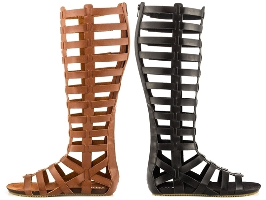 knee high gladiator flats faux leather