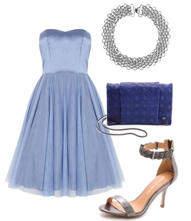 A-line layered gown in blue