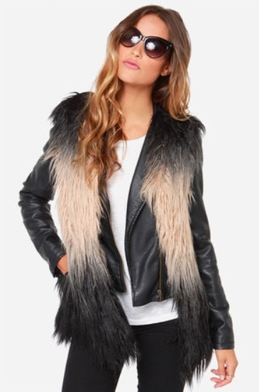 Beige and Black Faux Fur Vest