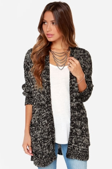 Black and Cream Cardigan Sweater