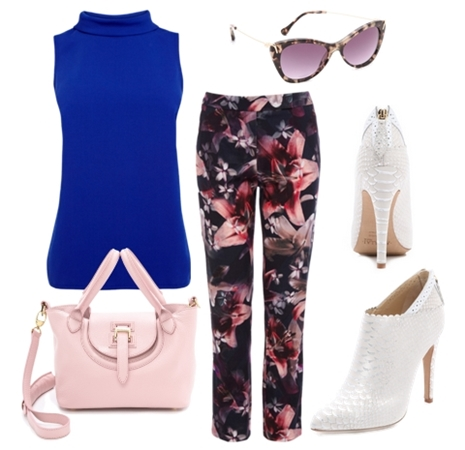 Cobalt Blue Top with Dark Floral Pants