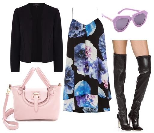 Dark Floral Slip Dress with Black Jacket