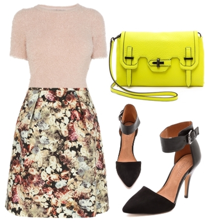 Fluffy Tops and Floral Skirt