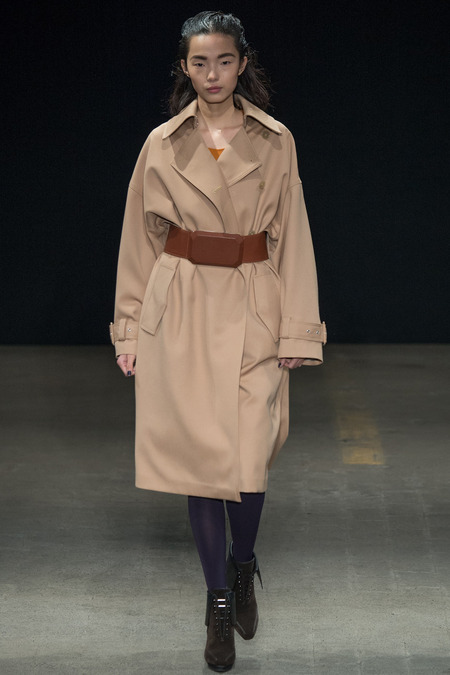 3.1 Phillip Lim Fall 2014 Oversized Coat with Futuristic Belt
