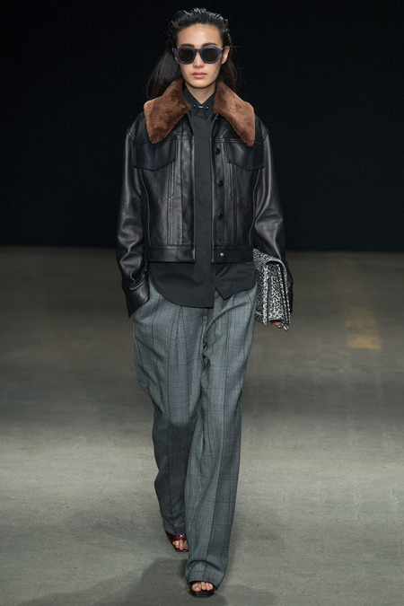 3.1 Phillip Lim Fall 2014 Leather Jacket with Roomy Trousers