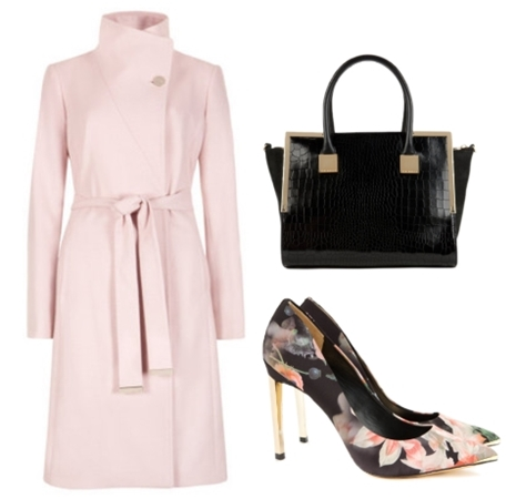 Pale Pink Belted wrap coat