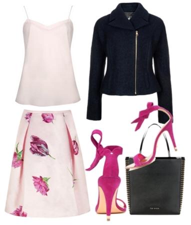 Pale Pink Tulip Print Skirt