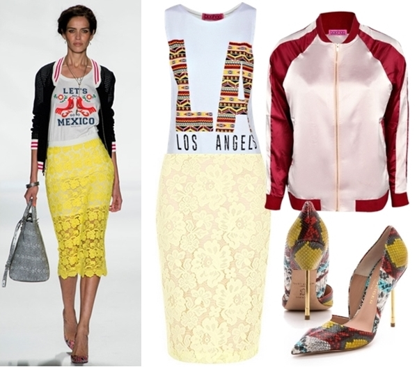 bomber jacket and lace pencil skirt