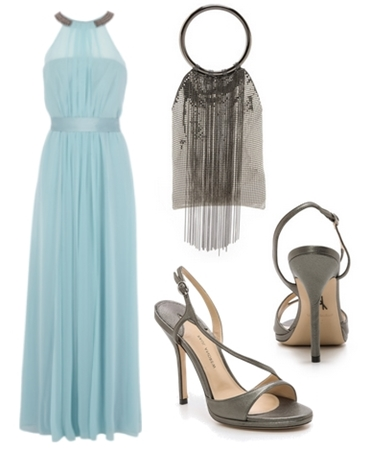 embellished halter neck long dress