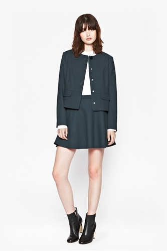 Boxy Jacket + Flared Skirt Smart Work Outfit