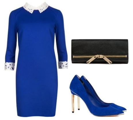 Lace collar tunic in bright blue