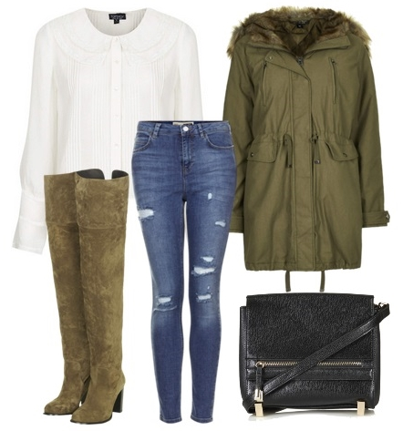Over The Knee Boots in Olive with jeans