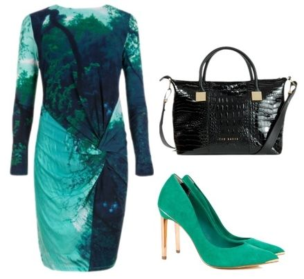 Reflective landscape dress in green
