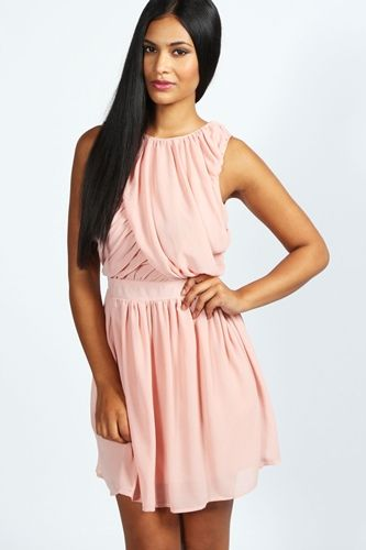 Ruched-Detail-Chiffon-Skater-Dress