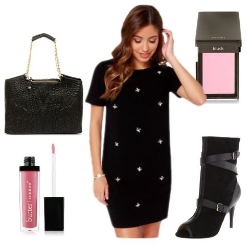 Black Beaded Shift Dress