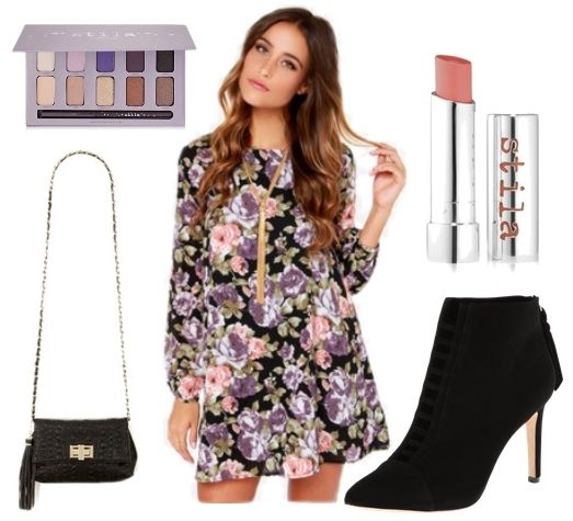 Black Floral Print Shift Dress