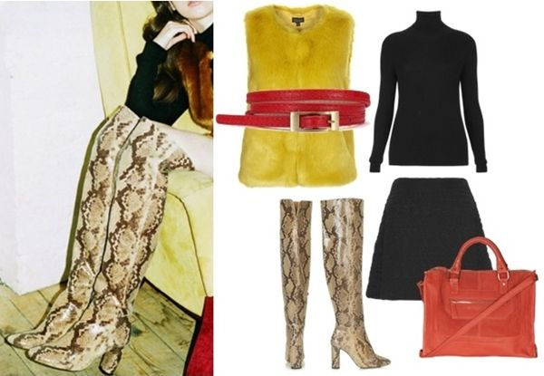 Colored Gilet + Snake Print Knee High Boots