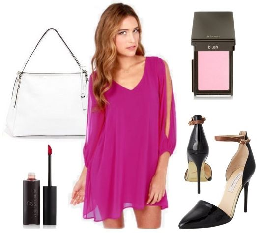 Magenta Long Sleeve Shift Dress