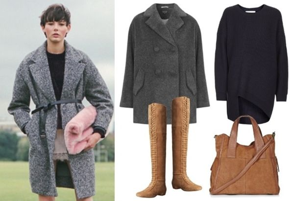 Neutral Mix Pea Coat and Oversized Jumper