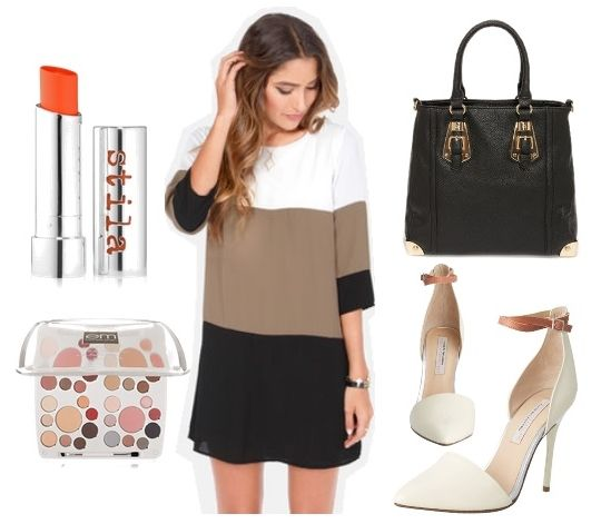 Taupe Color Block Shift Dress