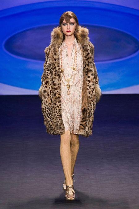 animal print fur coat with nude dress