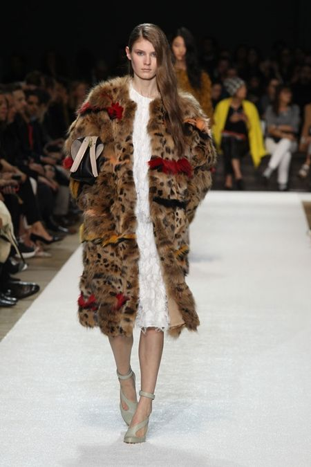 animal print fur coat with white dress