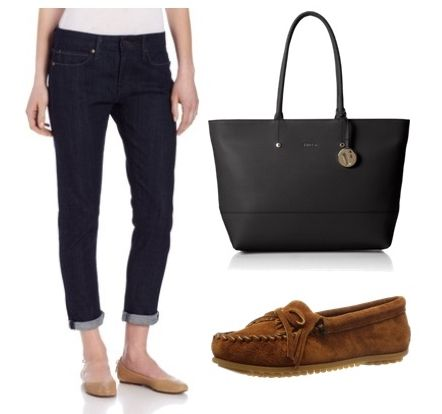 cropped boyfriend jeans with moccasin