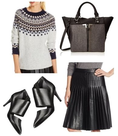 sweater + pleated faux leather skirt outfit