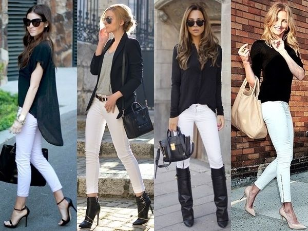 what to wear with white jeans - black
