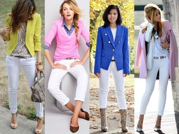 what to wear with white jeans - bright colors