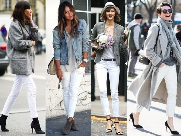 what to wear with white jeans - gray
