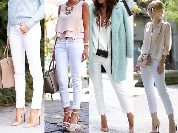 what to wear with white jeans - pastel