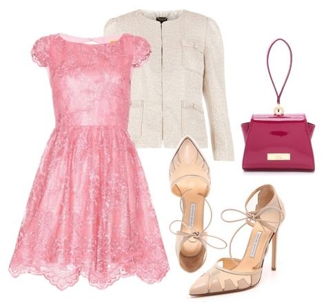 Alice + Olivia Zenden Lace Dress in Pink