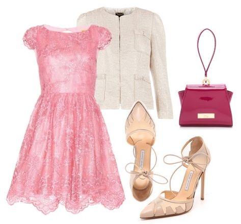 Alice + Olivia Zenden Lace Dress in Pink