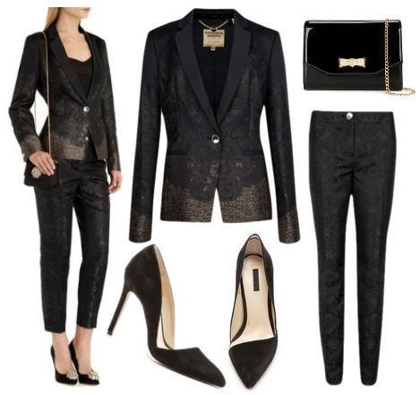 Black Jacquard Suit Jacket