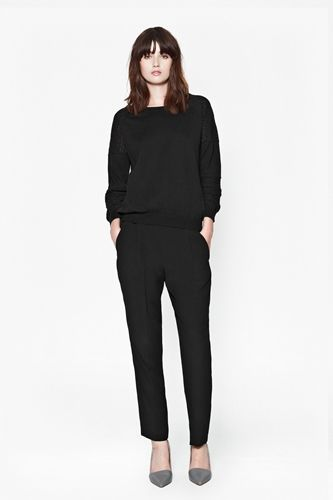 Black Jumper with Black Pencil Trousers