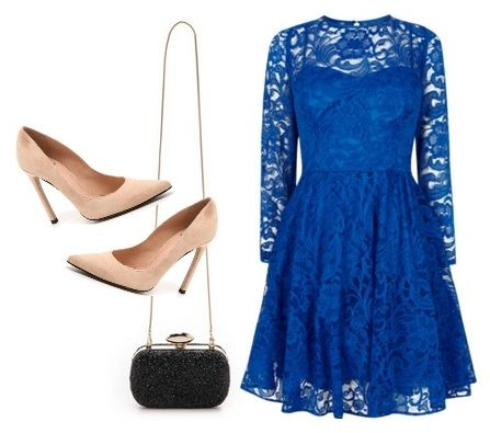 Coast Mallary Lace Dress in Blue