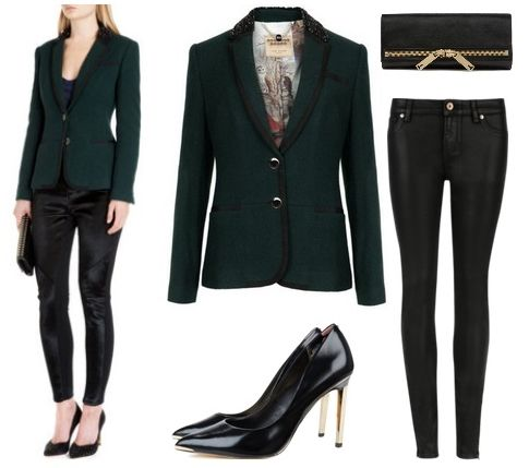 Dark Green Embellished Collar Blazer