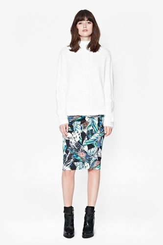 High Neck Jumper with Printed Pencil Skirt