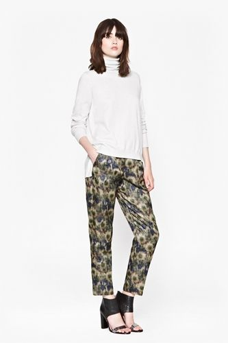 Roll Neck Jumper Worn with Printed Crop Pants