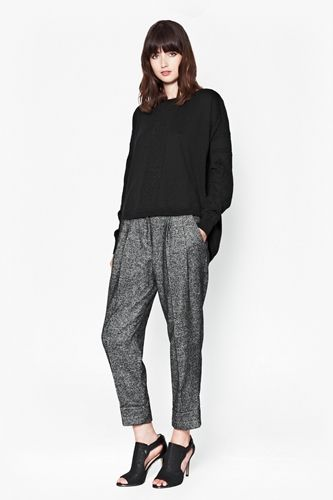 Slouchy Jumper Worn with Pepper Gathered Trousers