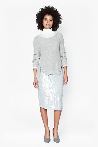Zip Detail Jumper Worn with Sequined Skirt