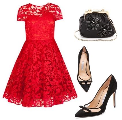 red sheer floral lace dress