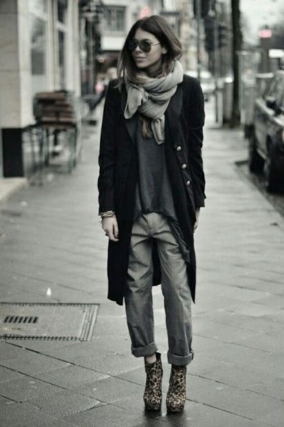slouchy boyfriend jeans with long cardigan