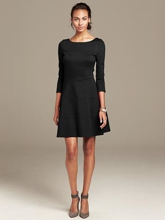 Black Seamed Ponte Fit-and-Flare Dress