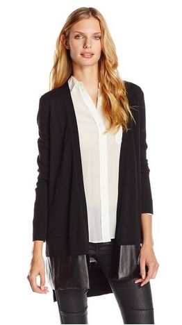 DKNYC Women's Long Sleeve Faux Leather Hem Cardigan