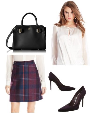 Lined plaid A-line skirt Navy Multi