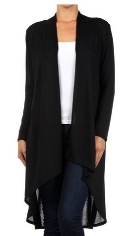 Modern Kiwi Solid Essential Long Cascading Cardigan