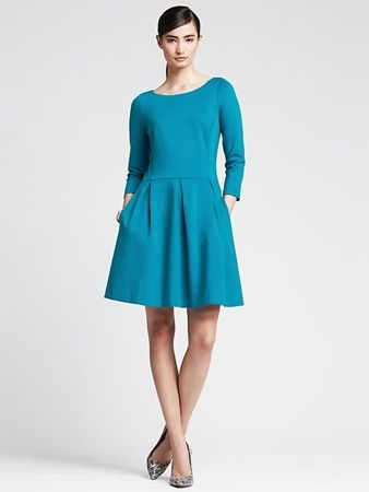 Ponte Fit-and-Flare Dress Teal