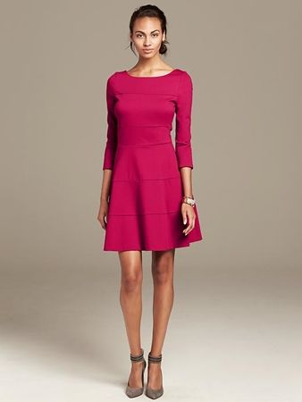 Seamed Ponte Fit-and-Flare Dress Red Peony